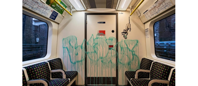 Banksy Hits London Subway With Coronavirus-Themed Graffiti