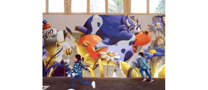 New mural by Stom500 in a school !